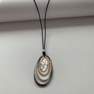 Corded Long Necklace 3 Tone Oval Pendant